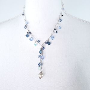 Blue Beaded Fashion Y Necklace